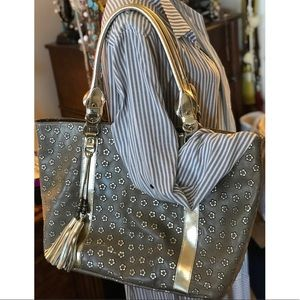 Calvacanti Italian leather bag; gold and taupe